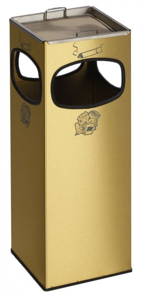 Abfallbehälter 4-fach Einwurf - Messing