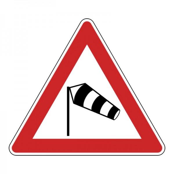 Verkehrszeichen - Seitenwind von links
