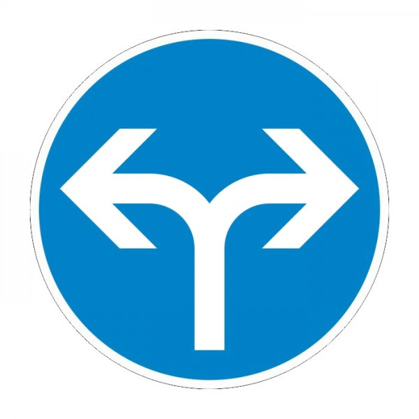 Verkehrszeichen - Vorgeschriebene Fahrtrichtung rechts und links Nr. 209-31