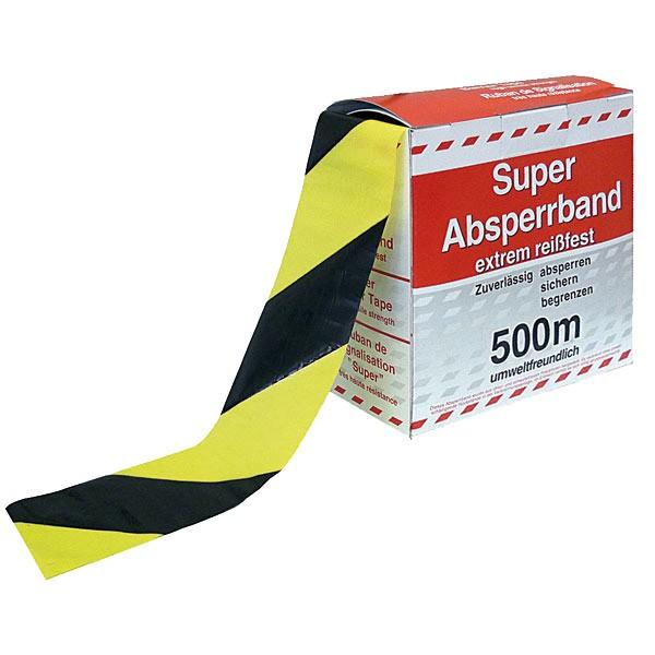 Absperrband gelb/schwarz - VE 10 Stk.